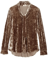L'Agence Gisele Crushed Velvet Neck Tie Blouse In Mink