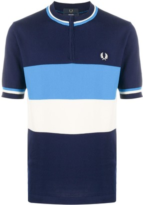 Fred Perry Striped Collarless Polo Shirt