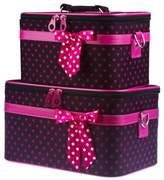 Ever Moda Black Pink Polka Dot Cosmetic Makeup Train Case (2-piece set) by Ever Moda