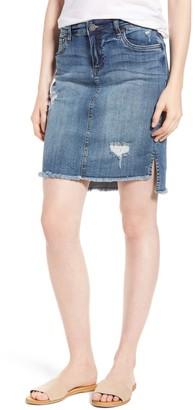 KUT from the Kloth Conni Hi-Lo Fray Hem Denim Skirt