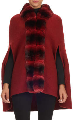 Oscar de la Renta Chinchilla Fur Collar Wool-Cashmere Cape