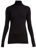 Raey Roll-neck Fine-rib Cashmere Sweater - Womens - Black
