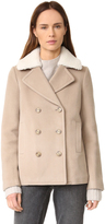 Alexander Wang Wool Peacoat with Shearling Collar