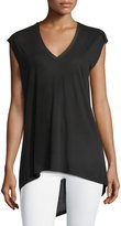 BCBGMAXAZRIA Knit Sleeveless Asymmetric Tee, Black