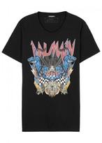 Balmain Black Printed Cotton T-shirt