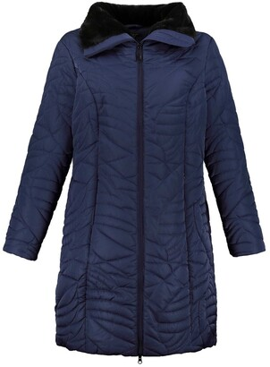 Ulla Popken Mid-Length Padded Coat with Faux Fur Lining