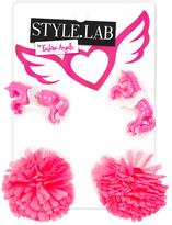 Fashion Angels Pink Unicorn & Pom-Pom Earrings Set