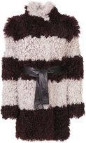 Drome furry detail striped coat - women - Lamb Skin/Acetate/Viscose/Lamb Fur - M