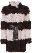 Drome furry detail striped coat - women - Lamb Skin/Acetate/Viscose/Lamb Fur - S