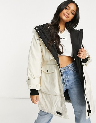 Sixth June oversized techy padded jacket with faux fur hood