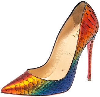 Christian Louboutin Metallic Multicolor Python Pigalle Pointed Toe Pumps Size 38
