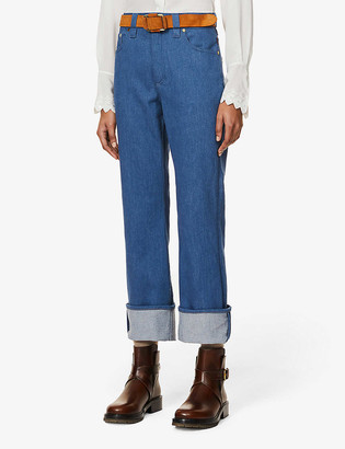 Chloé Brand-patch high-rise straight jeans