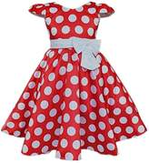 DreamHigh Toddlers Polka Dot Skirt Cap Sleeves Flowers Girl Vintage Bow Dress