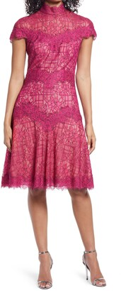 Tadashi Shoji Lace Mock Neck A-Line Cocktail Dress