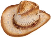 TAUT Unisex Woven Straw Ranch Cowboy Hat with Shapeable Brim