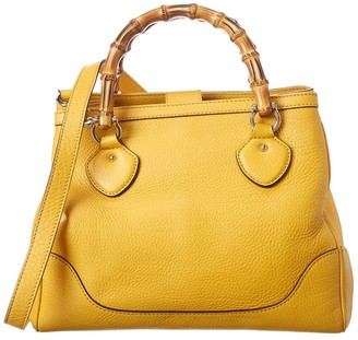 Gucci Yellow Leather Diana Bamboo Bag