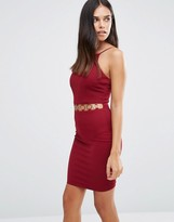 AX Paris Bodycon Dress With Cut Out Waist And Disc Detail