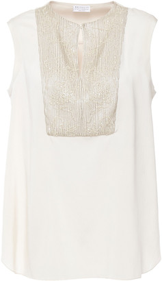 Brunello Cucinelli Sequin And Bead-embellished Stretch-silk Blouse