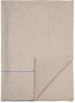 Paz Mixed-Stitch Wool Blanket-BEIGE, BLUE