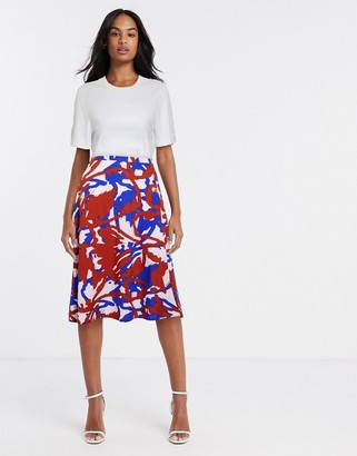 Ichi printed bias cut midi skirt