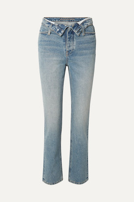 Alexander Wang Cult Flip Fold-over High-rise Straight-leg Jeans - Mid denim