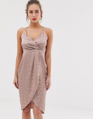 Qed London QED London wrap front slip midi dress-Pink