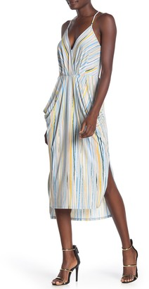 BCBGeneration Striped Draped Pocket Midi Dress