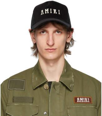 Amiri Black Logo Trucker Cap