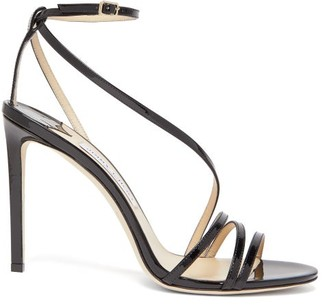Jimmy Choo Tesca 100 Patent-leather Sandals - Womens - Black