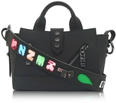 Kenzo Black Soft Rubberized Gommato Leather Mini Kalifornia Satchel x Badges