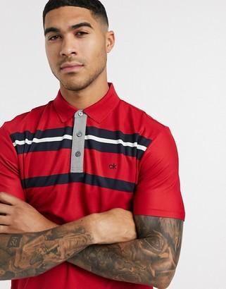 Calvin Klein Golf Anchor polo top in red & navy