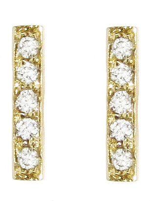 Jennifer Meyer Diamond Yellow Gold Bar Stud Earrings