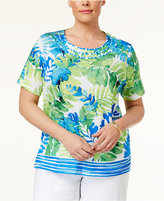 Alfred Dunner Plus Size Corsica Collection Tropical-Print Knot-Trim Top
