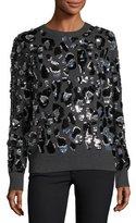 Michael Kors Paillette Leopard Cashmere Sweater