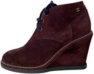Chanel Burgundy Suede Ankle boots