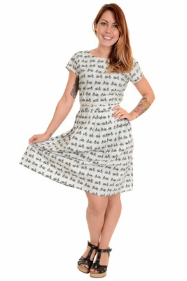 Run & Fly Ladies 50s 60s Vintage Bikes Tea Party Dress Size 8 Silver