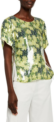 3.1 Phillip Lim Short-Sleeve Daisy-Print Sequined T-Shirt