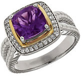 Lord & Taylor Amethyst, White Topaz, Sterling Silver and 14K Yellow Gold Ring