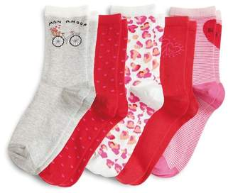 Next Womens Red Valentines Ankle Socks Five Pack - Red