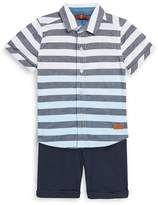 7 For All Mankind Baby Boy's Two-Piece Stripe Cotton Collared Shirt and Stretch Shorts Set