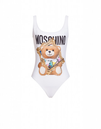 Moschino One-piece Swimsuit Frame Teddy Bear Woman White Size 38 It - (2 Us)