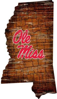 "Ole Miss Rebels Distressed 24"" x 24"" State Wall Art"