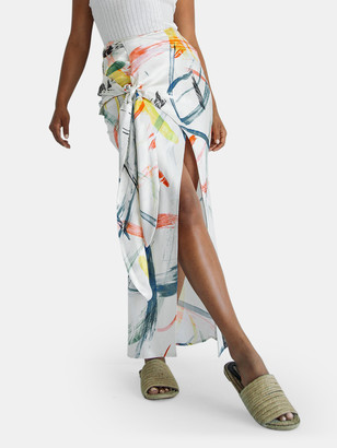 The Line By K Celia Knotted Crepe Midi Skirt