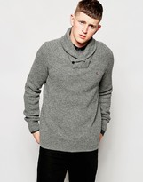 Fred Perry Jumper With Fishermans Knit And Shawl Collar