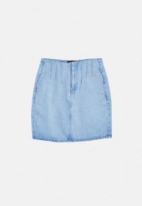 Missguided Blue Seam Corset Detail Denim Mini Skirt