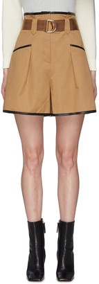 Self-Portrait Belted Contrast Trim Canvas Paper Bag Shorts
