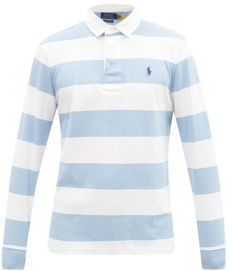 Polo Ralph Lauren Logo-embroidered Stripe Cotton-jersey Rugby Shirt - Blue White