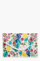 Boohoo Isabella Bird & Pineapple Embroidered Clutch