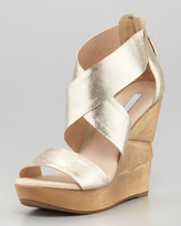 Diane von Furstenberg Opal Crisscross Wedge Sandal, Platino
