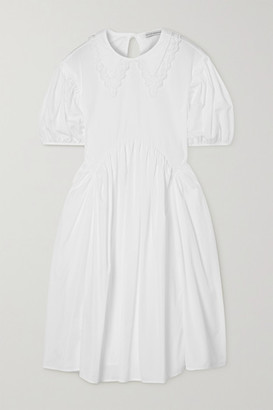 Cecilie Bahnsen Malou Embroidered Tulle-trimmed Cotton-poplin Dress - White